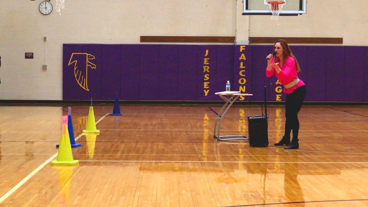Meryl Hawk speaking at Jersey Village High School