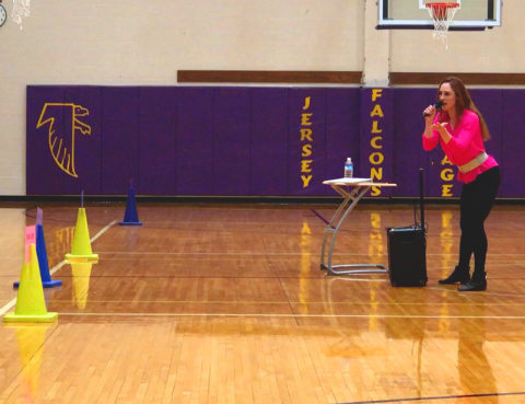 Meryl Hawk speaking at Jersey Village High School